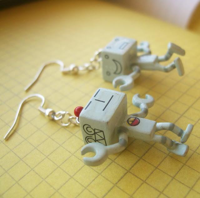 robot earrings