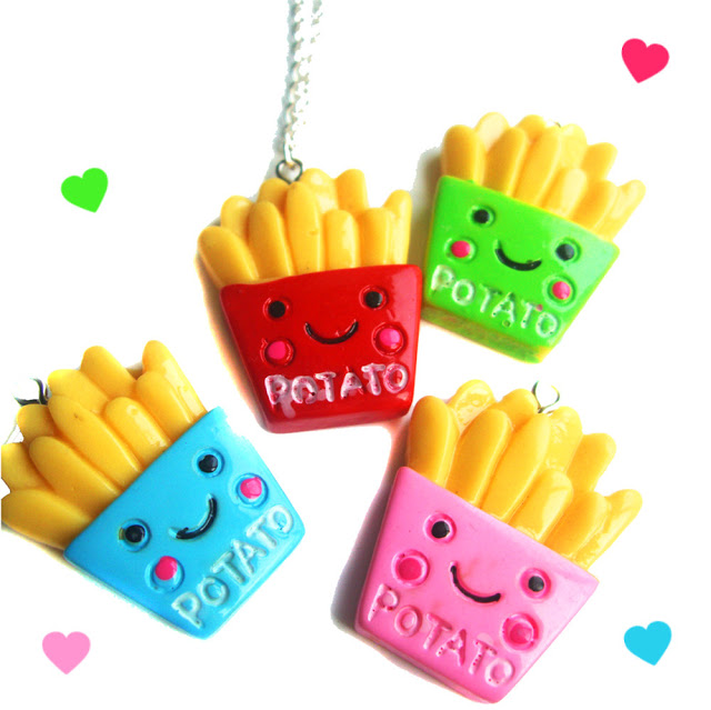 cute fries necklace