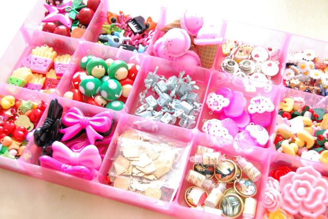 organized colourful bubblegum charms