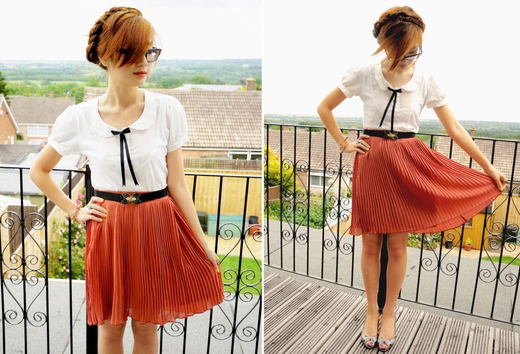 how to wear midi pleated skirt, milkmaid braid hairstyle