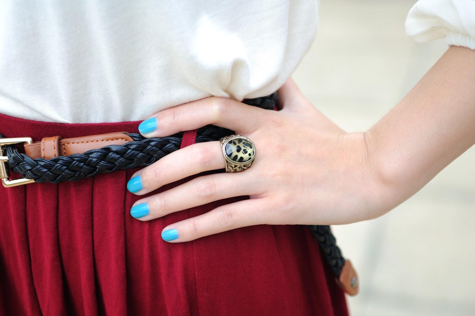 bright blue nail polish
