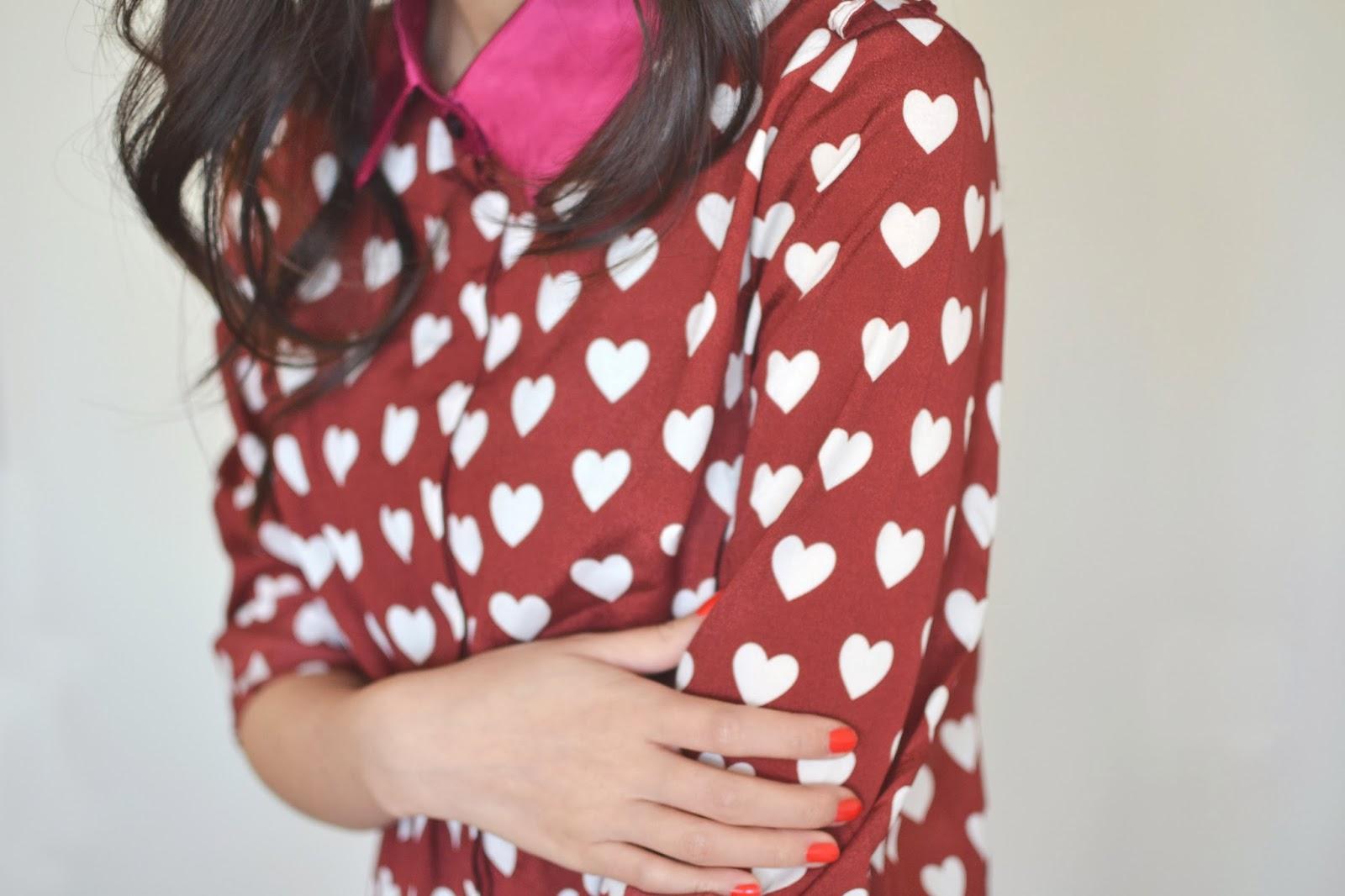 Burgundy Heart Print Shirt