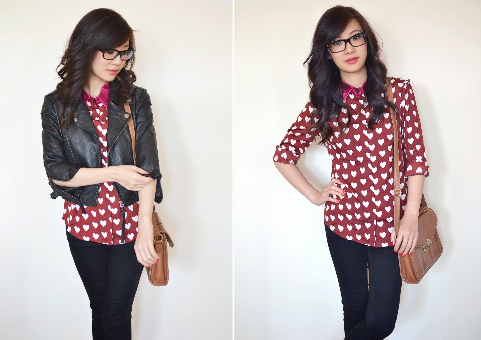 how to style heart print shirt