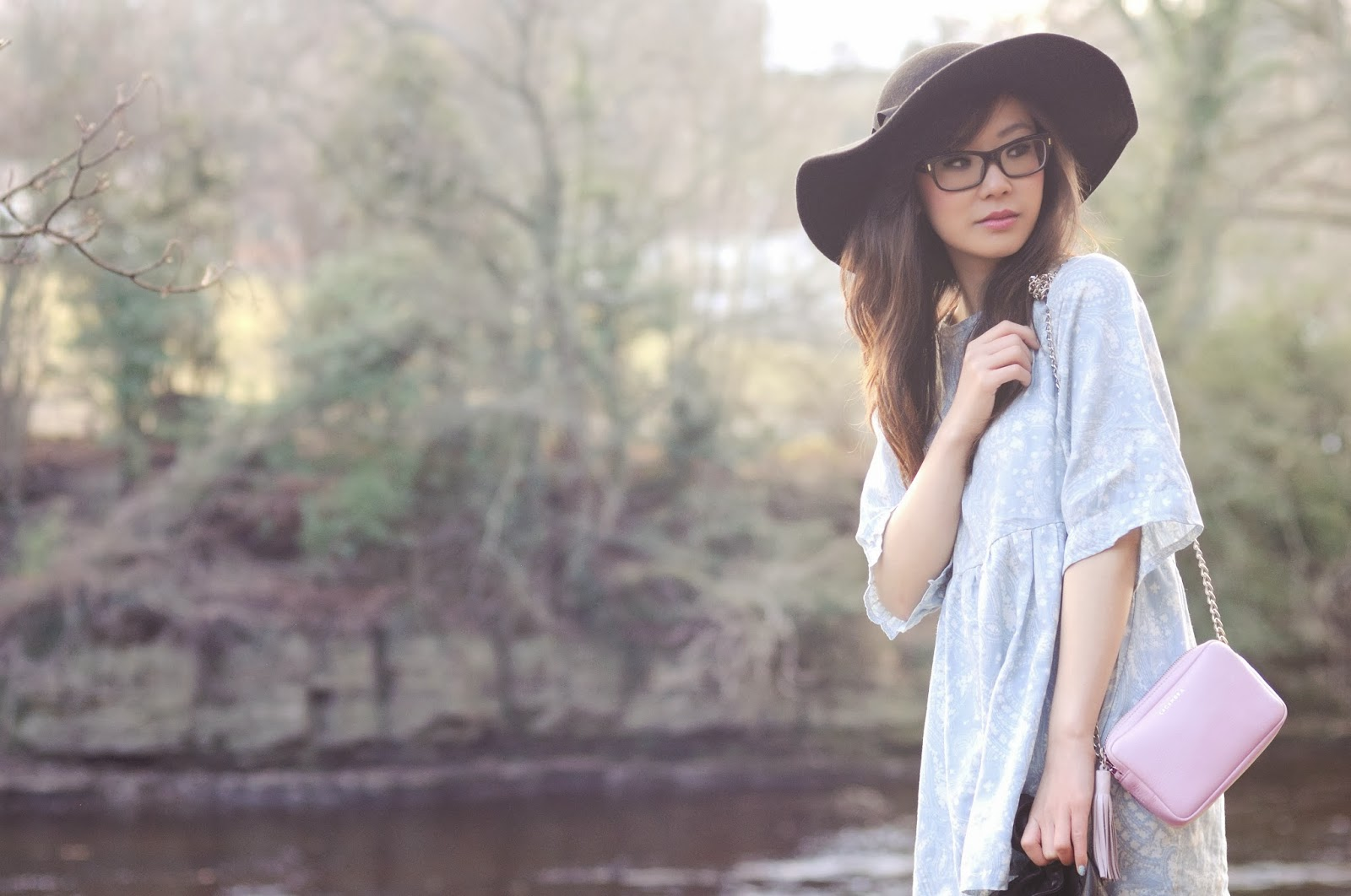 Winter pastel outfit, paisley smock dress, style blogger UK