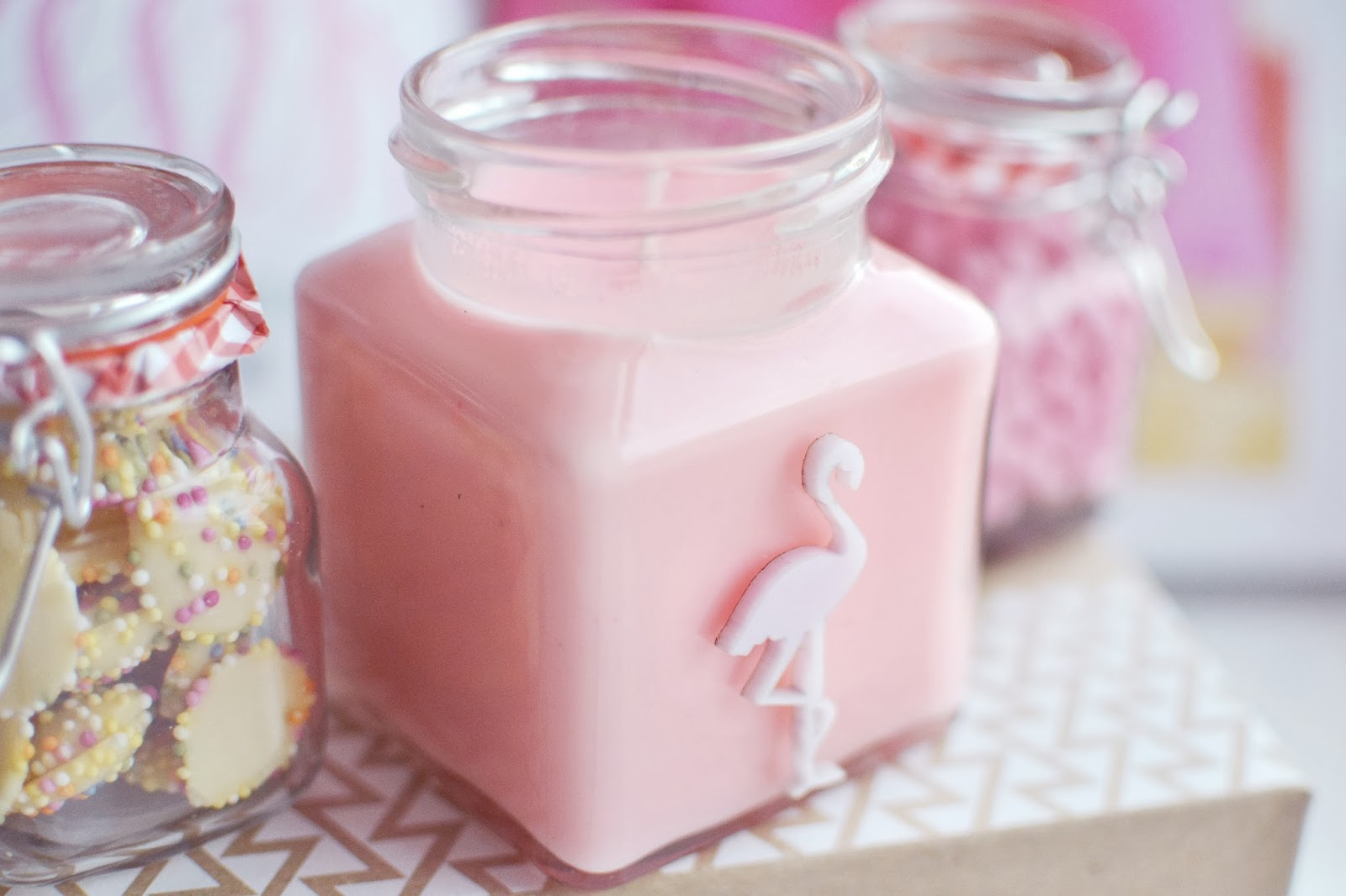 flamingo candles candy shop collection, candy floss scented candle
