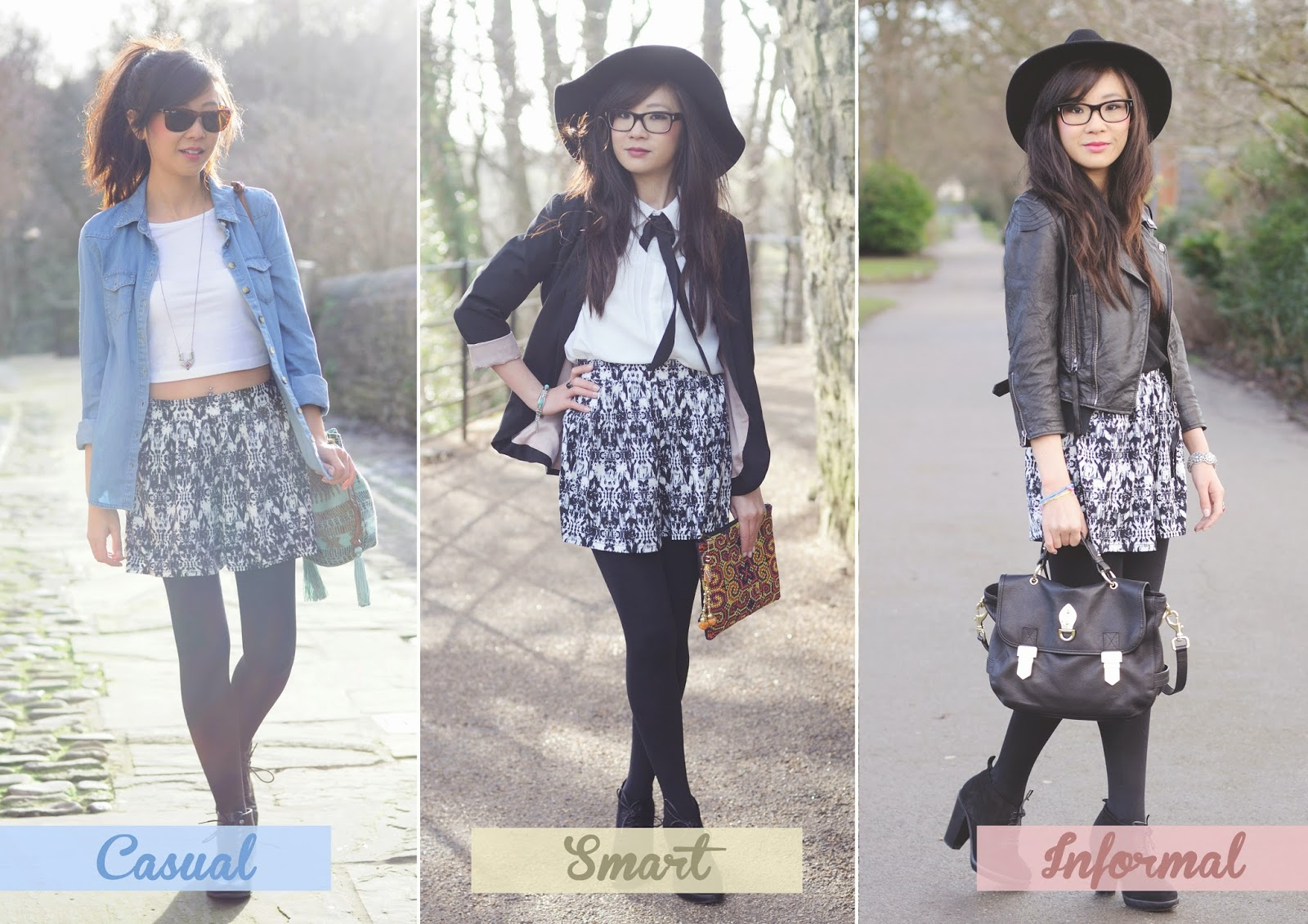 how to style culottes, how to style black and white shorts, ways to wear