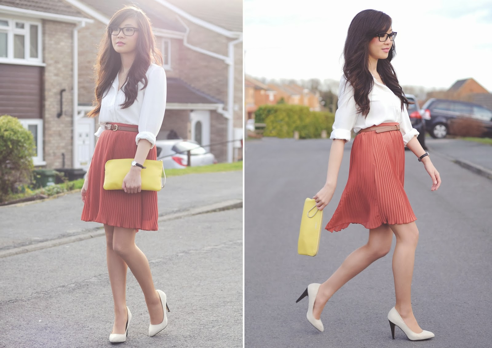 How to wear a midi skirt, what to wear with yellow clutch bag