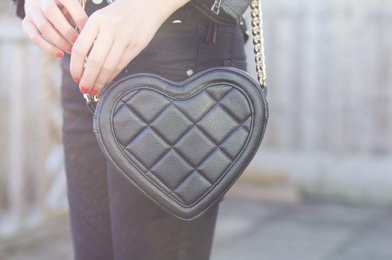 heart shaped handbag, quilted bag