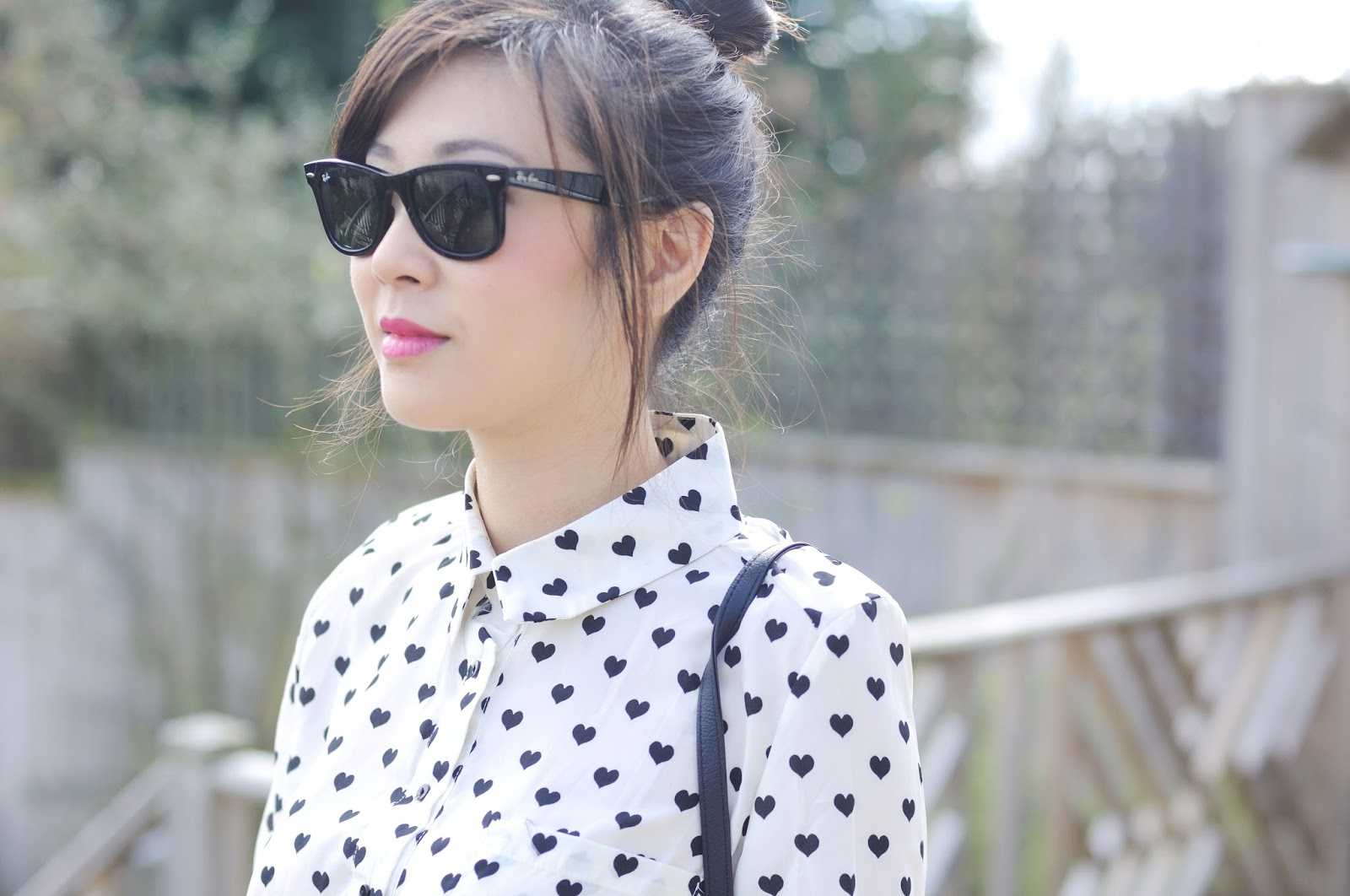 heart print shirt blouse