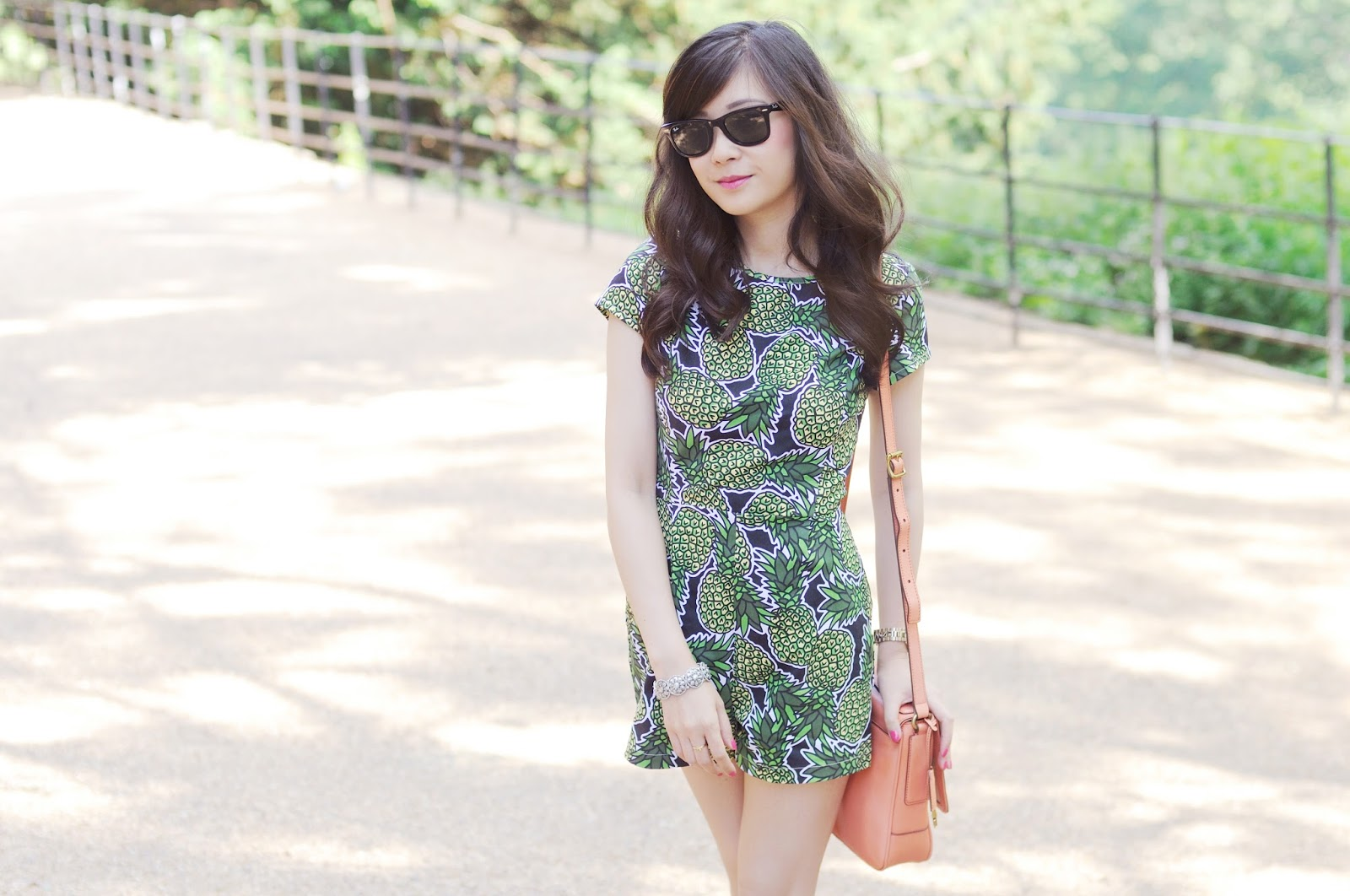 Pineapple print summer trend, pineapple playsuit, uk fashion blog