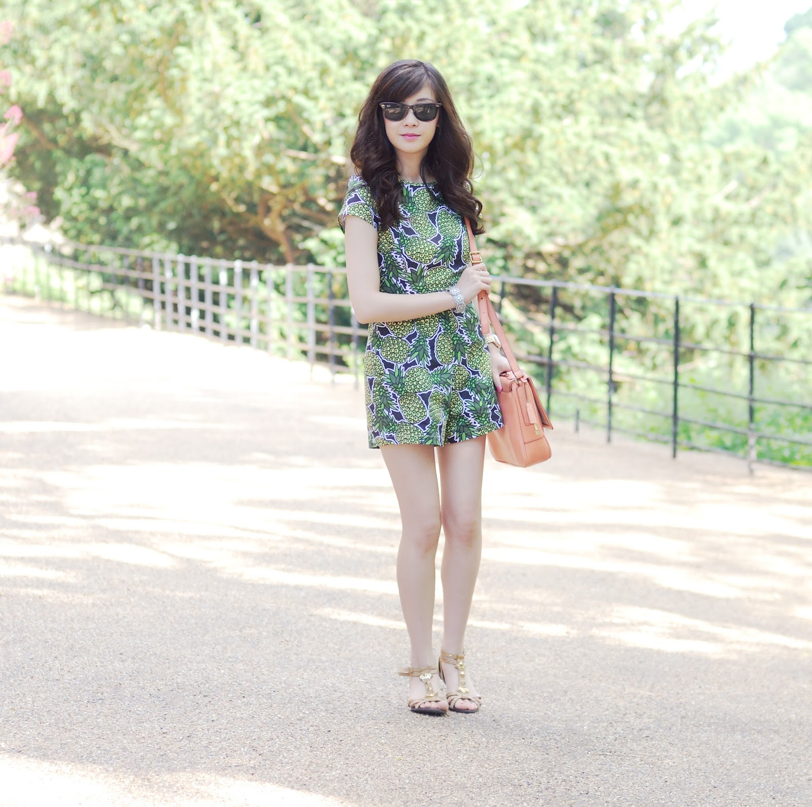 Pineapple print playsuit, uk fashion blogger, how to style pineapple print