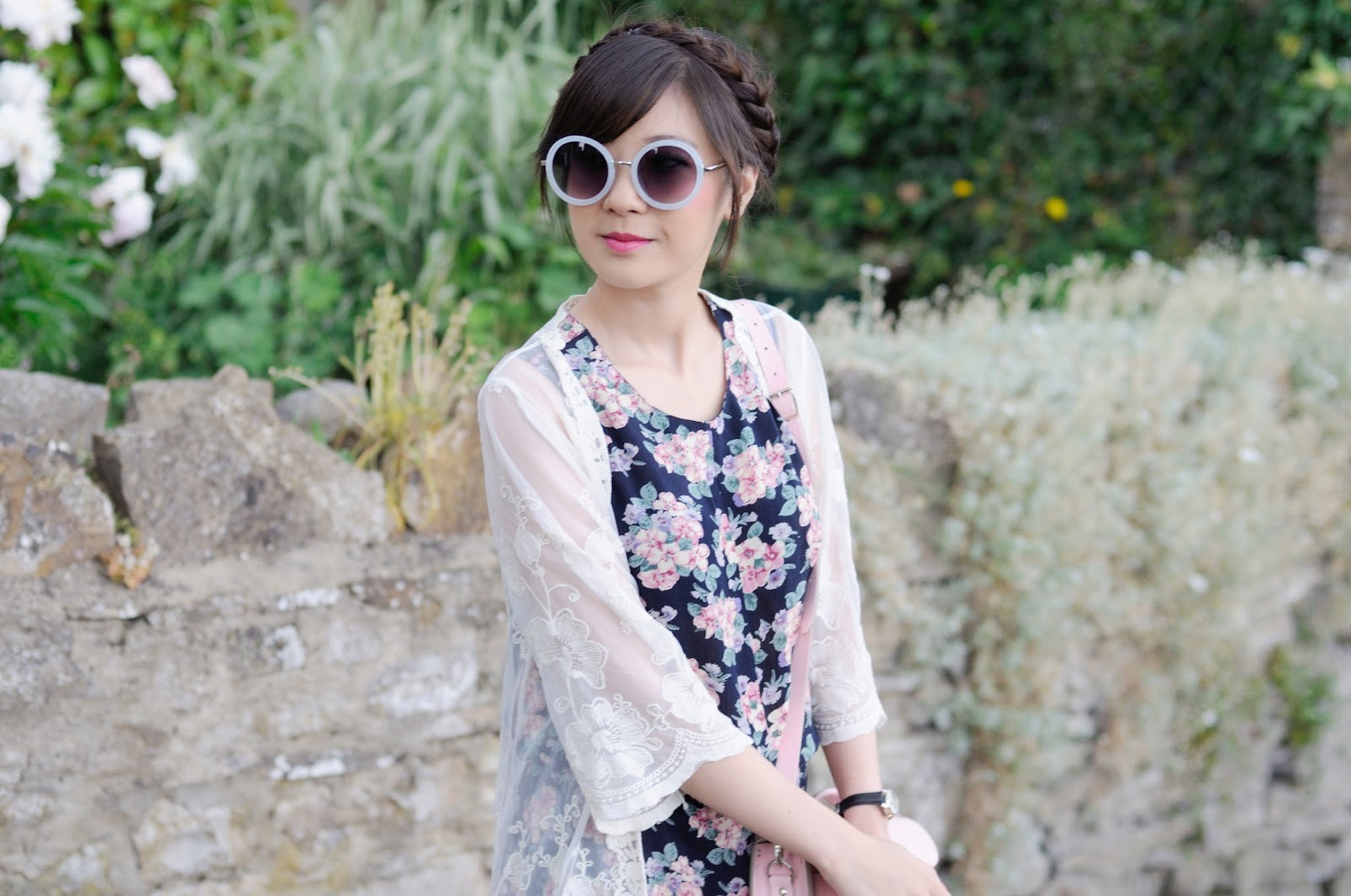 Floral Playsuit ASOS, UK Style blogger, heidi braids, milkmaid braid hairstyle