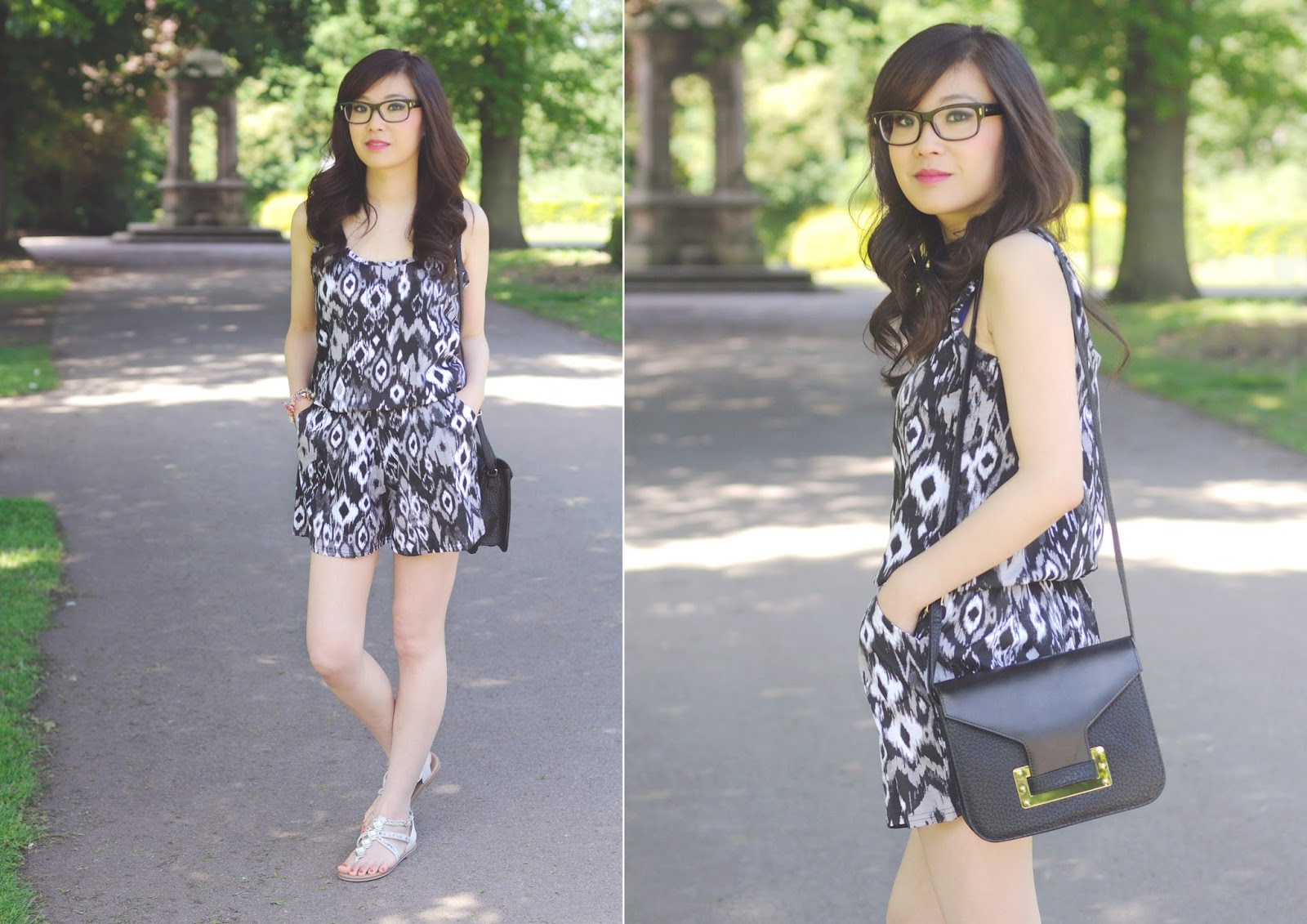 tribal print playsuit, uk fashion blog, how to wear tribal this summer