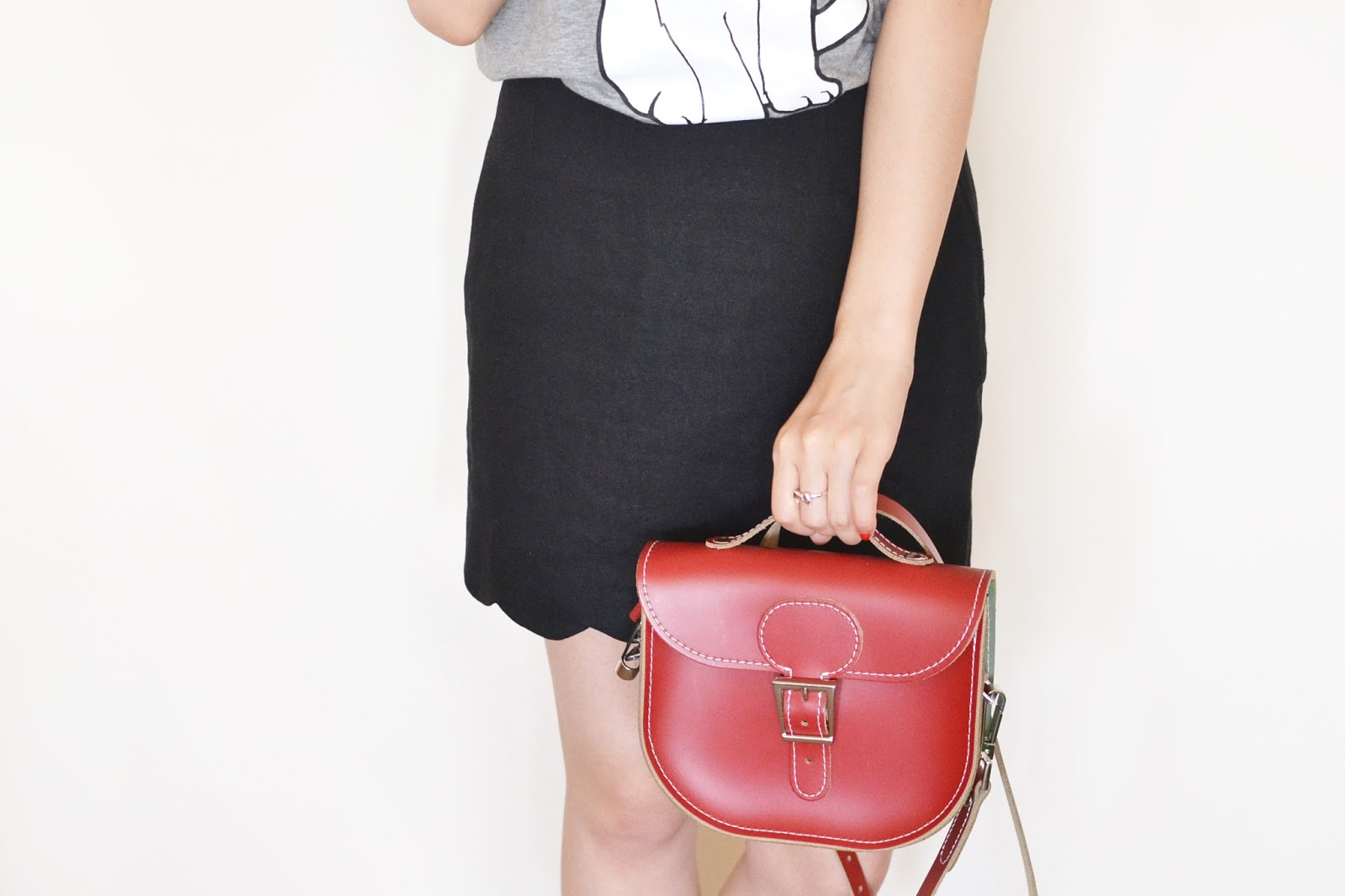 red satchel bag, red leather bag