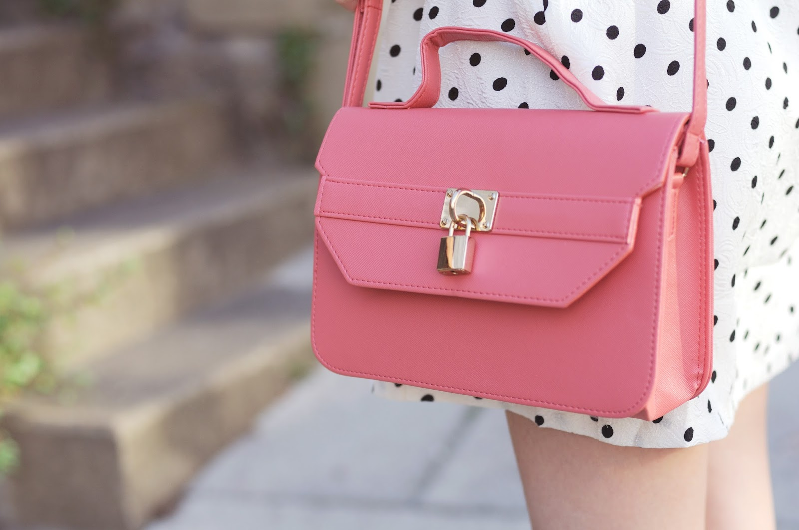 pink bag, pink satchel bag with long straps, how to accessorize a polka dot dress