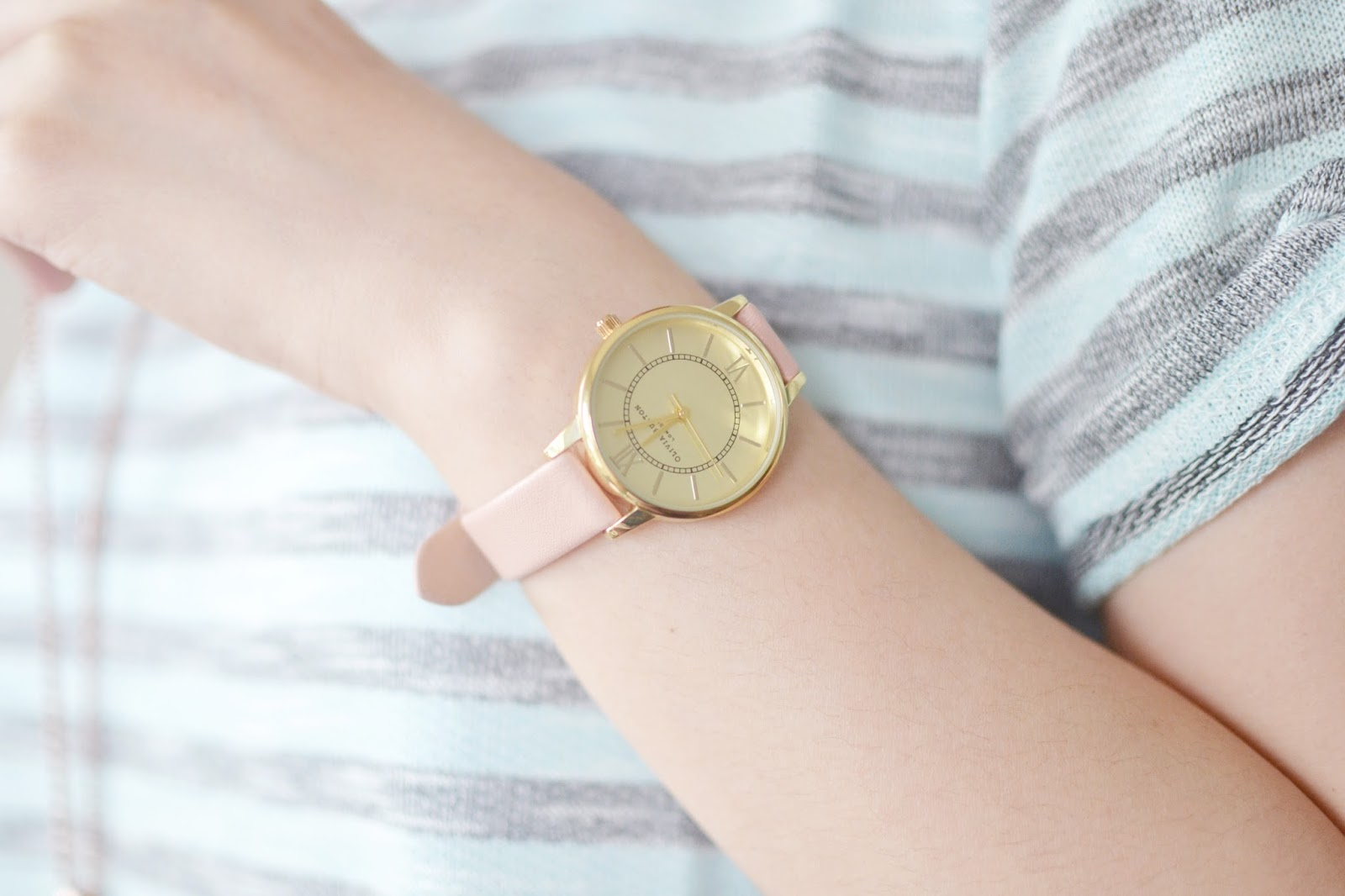 pink strap watch, olivia burton watch