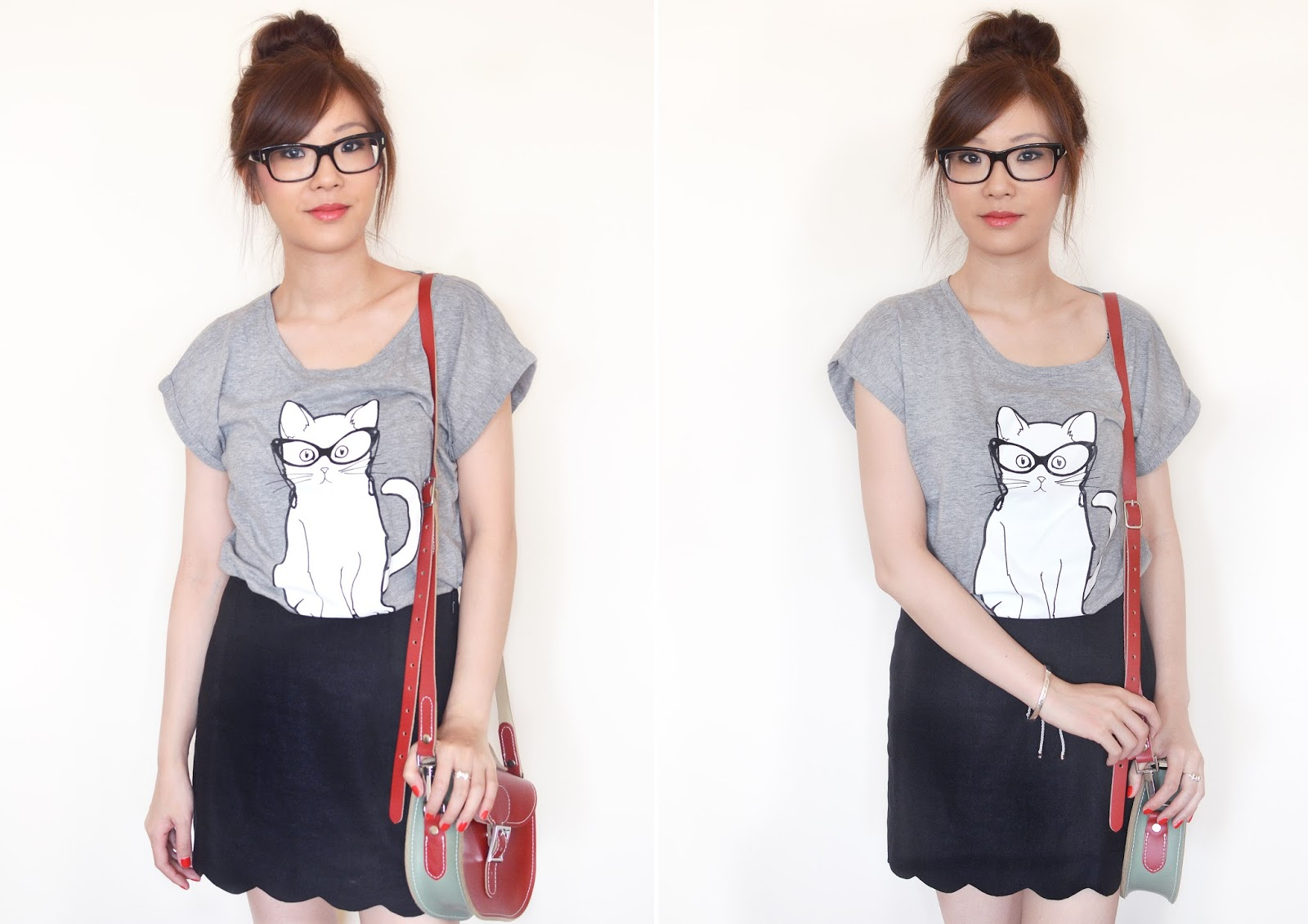 fashion blog uk, styling a grey tshirt, grey tshirt with black skirt