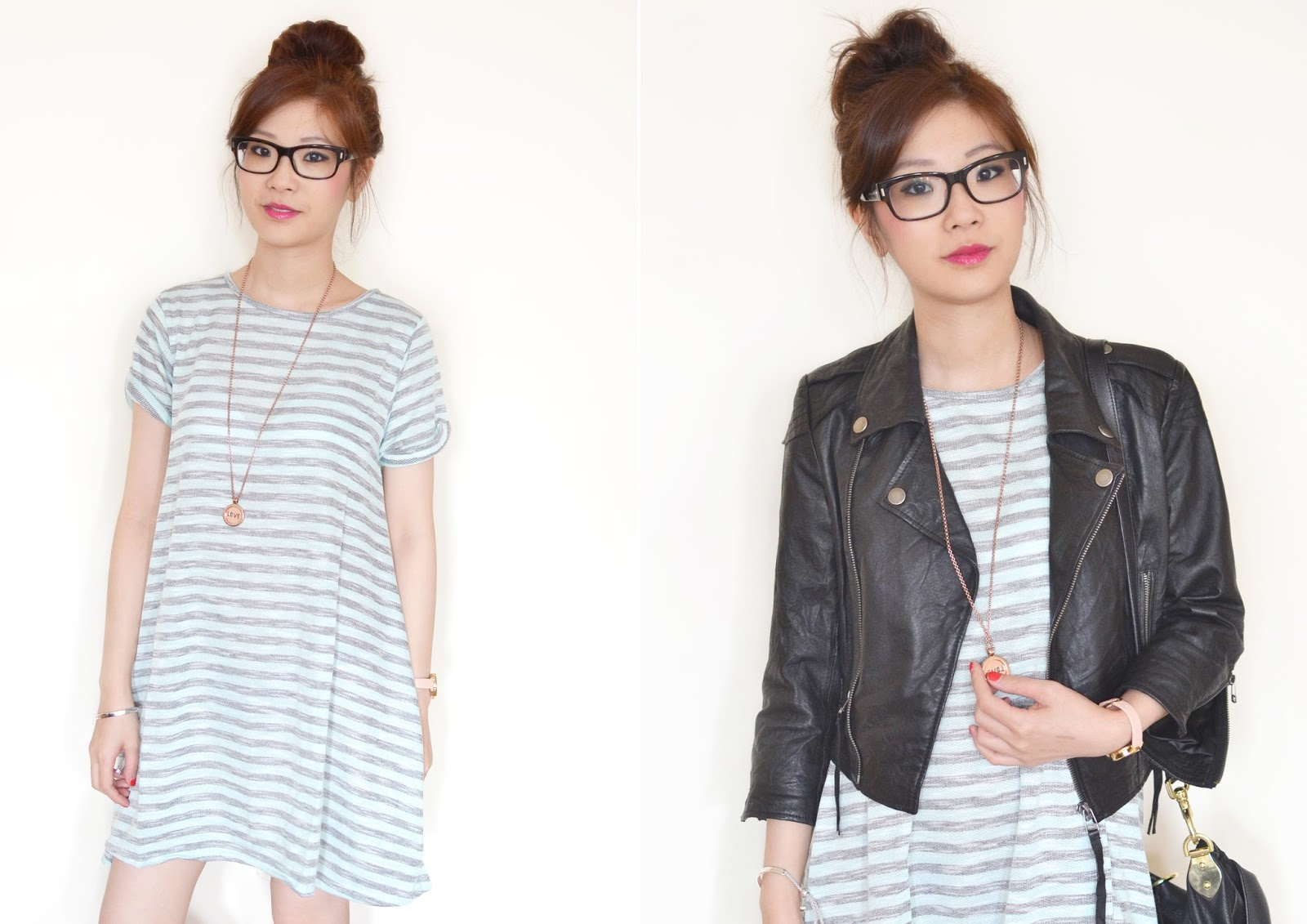 how to wear stripy dress, striped tshirt dress