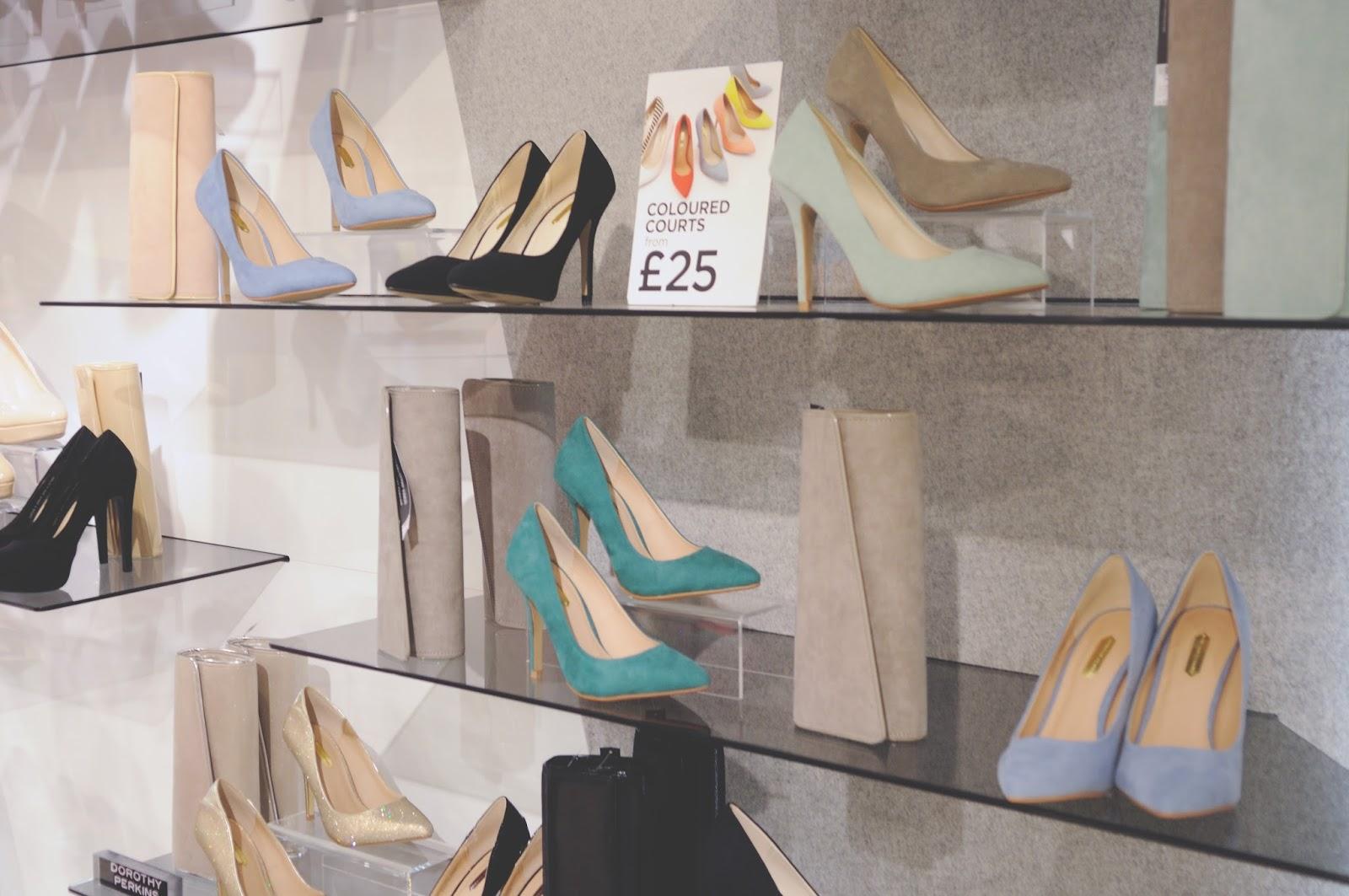 pastel coloured court shoes
