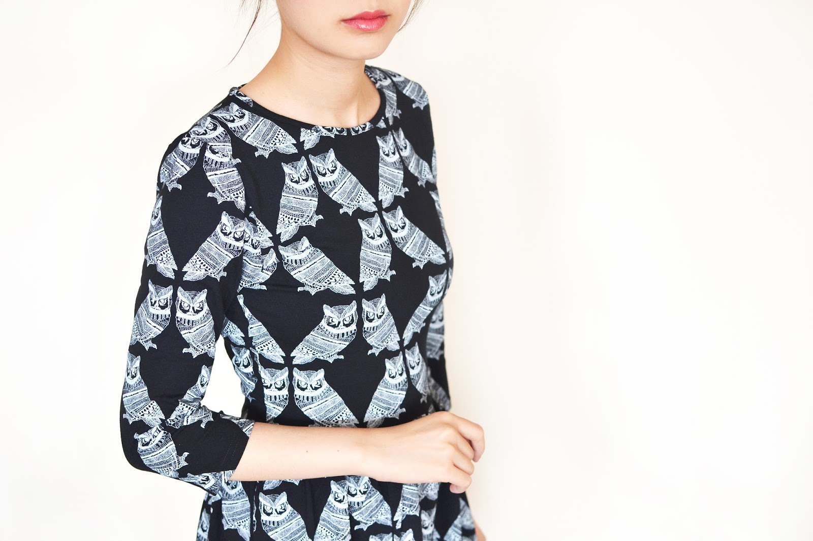 owl print dress, bird print dress