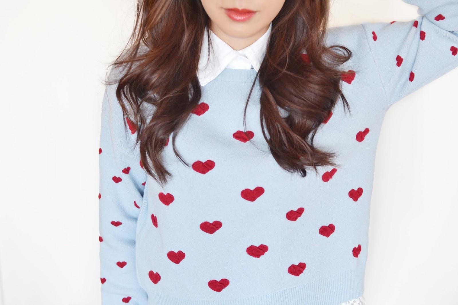 topshop heart print jumper, heart print jumper