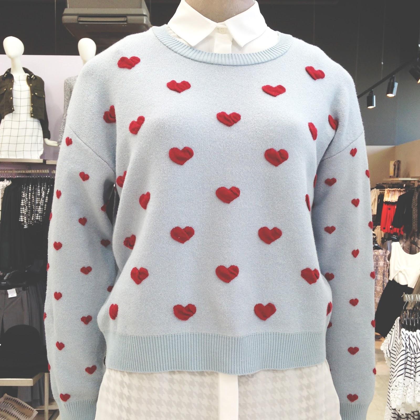 topshop heart print jumper