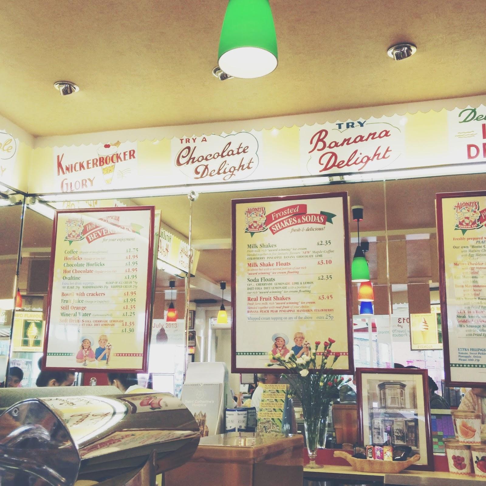 harbour bar, scarborough ice cream parlour, ice cream parlour, retro,
