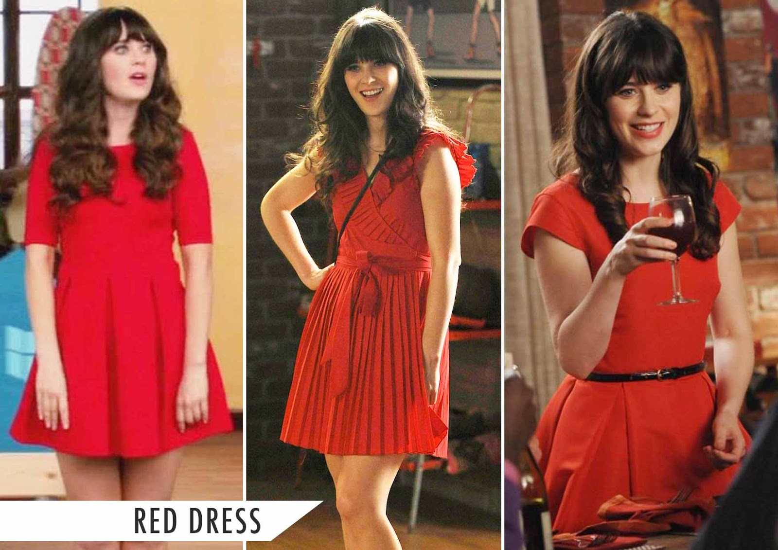 jess day red dress, new girl red dress,