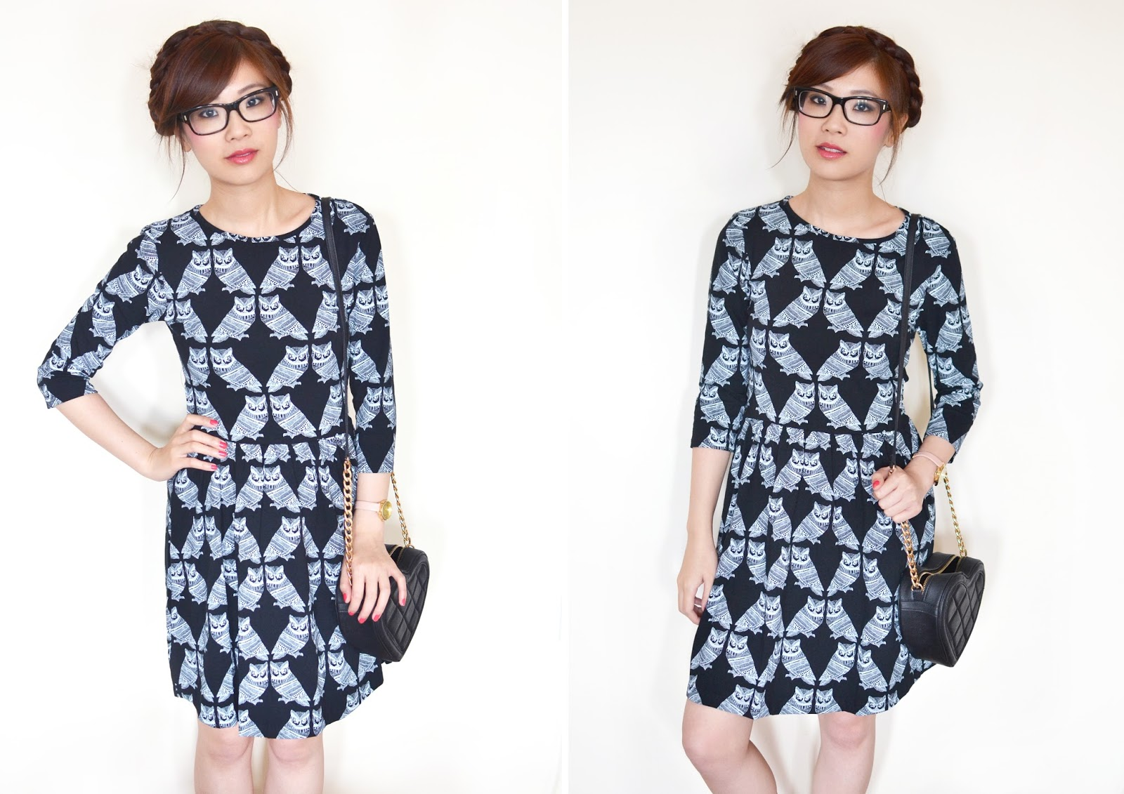 owl print dress, skater dress, how to style a black skater dress