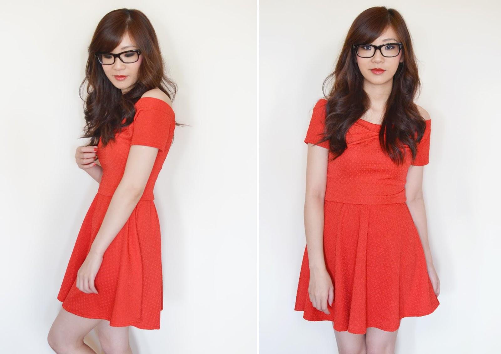 off the shoulder red dress, bardot dress