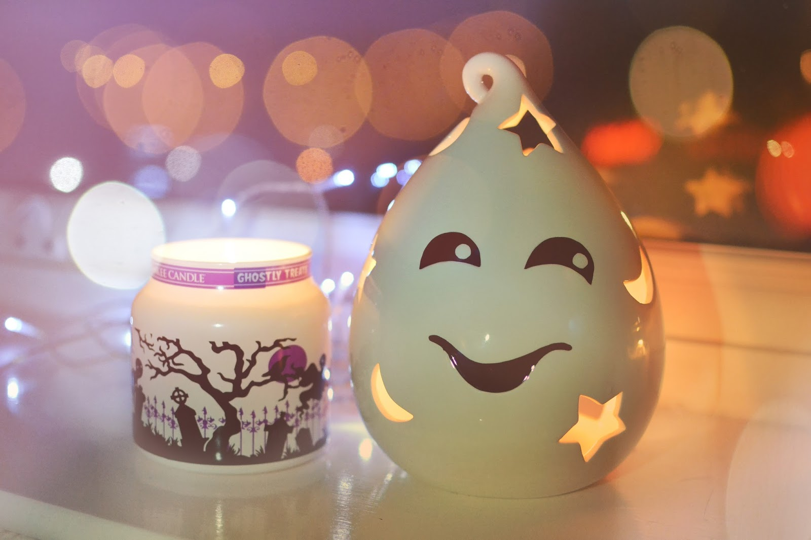 ghostly treats, ghost tea light holder, yankee candle
