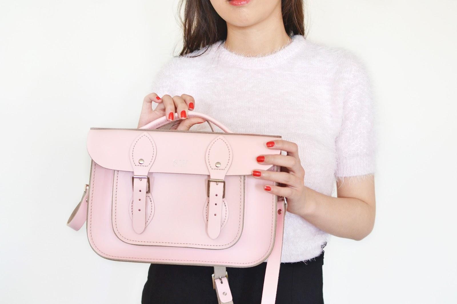 pink leather satchel, pink satchel bag