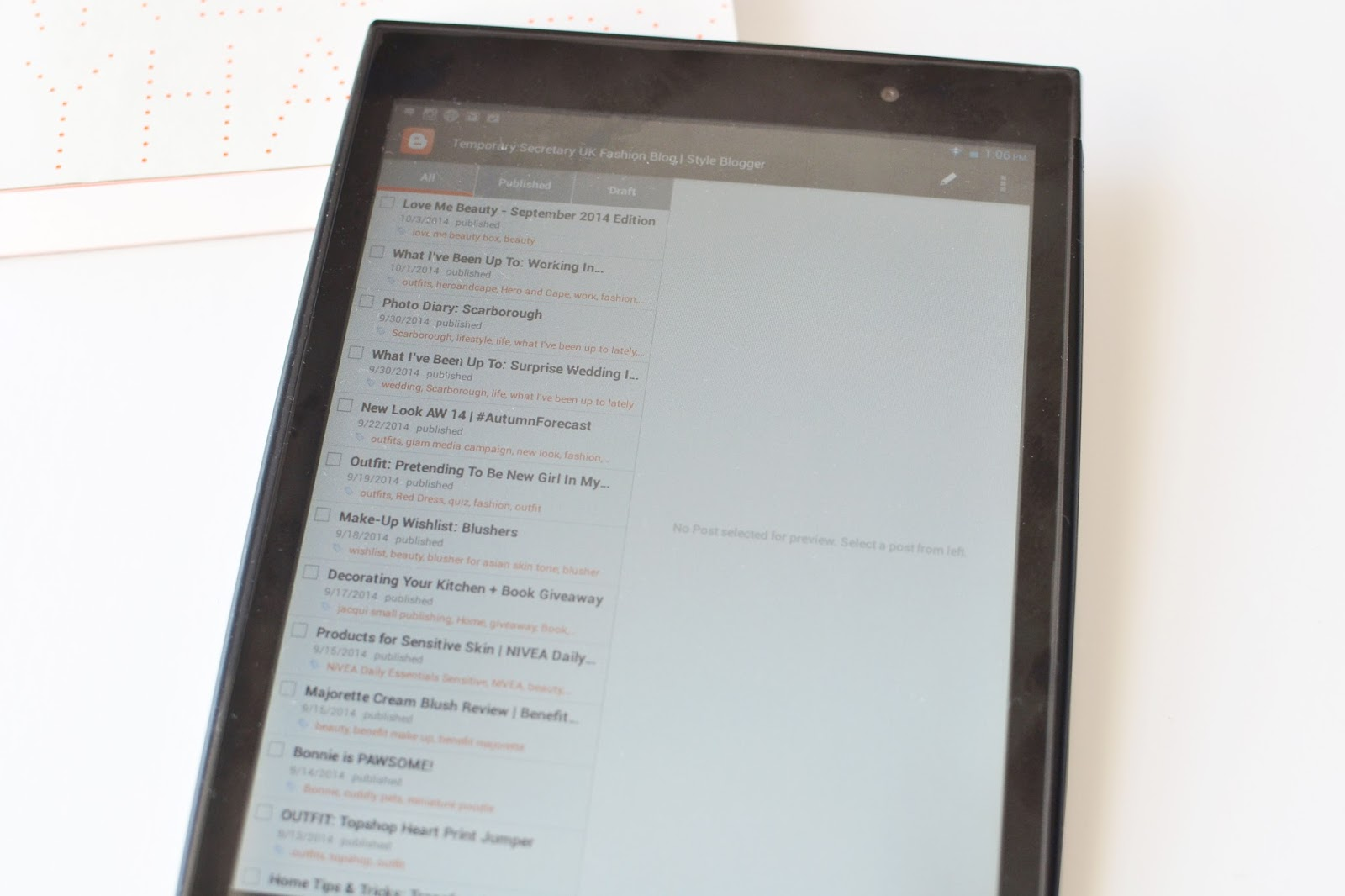 tablet for blogging, blogging tablet