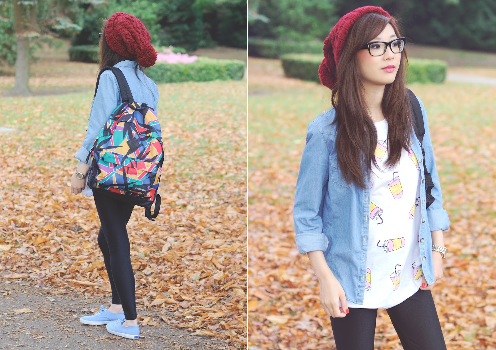 how to style a denim shirt, how to style backpack