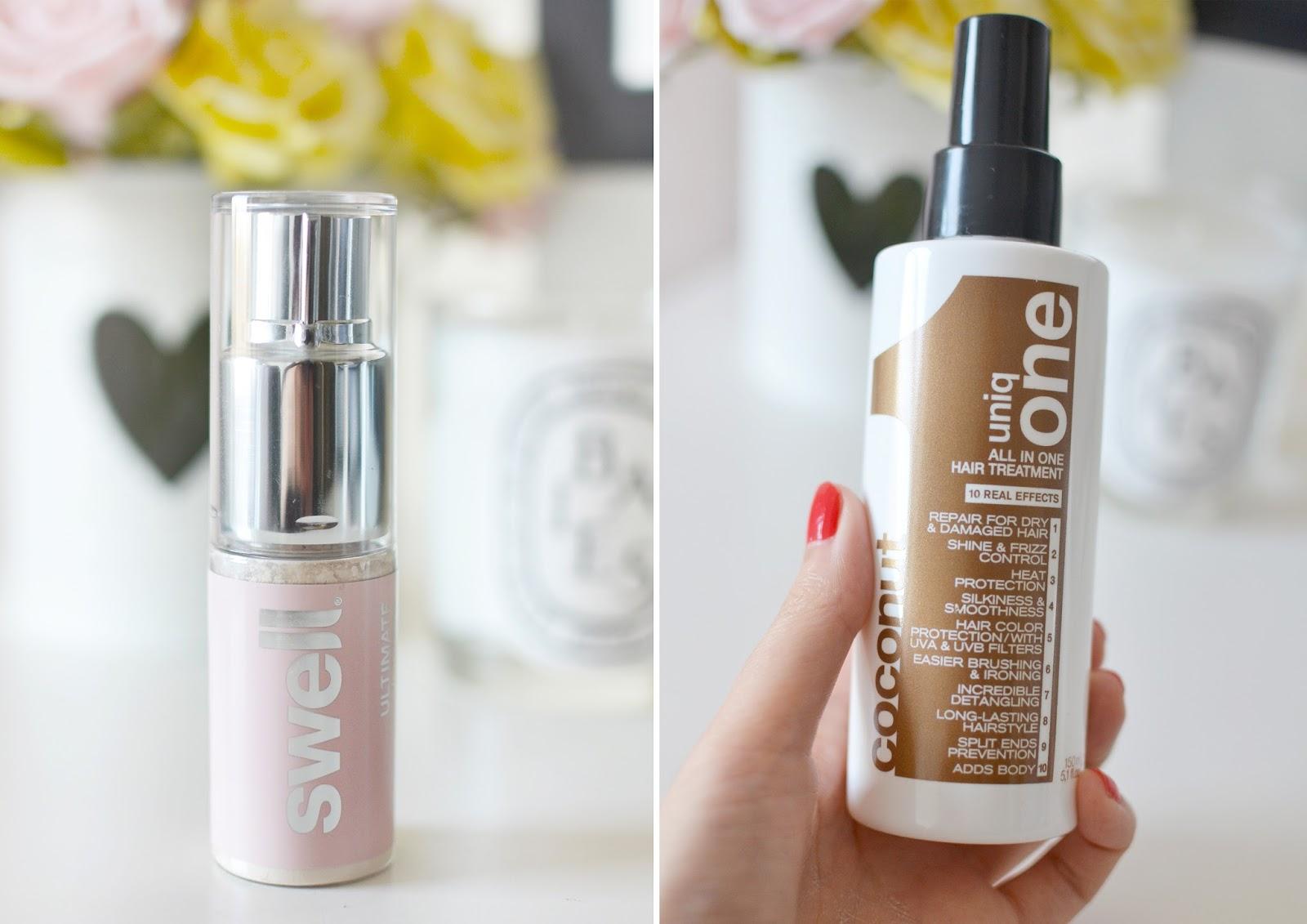 hair products, swell dry shampoo, uniqone coconut