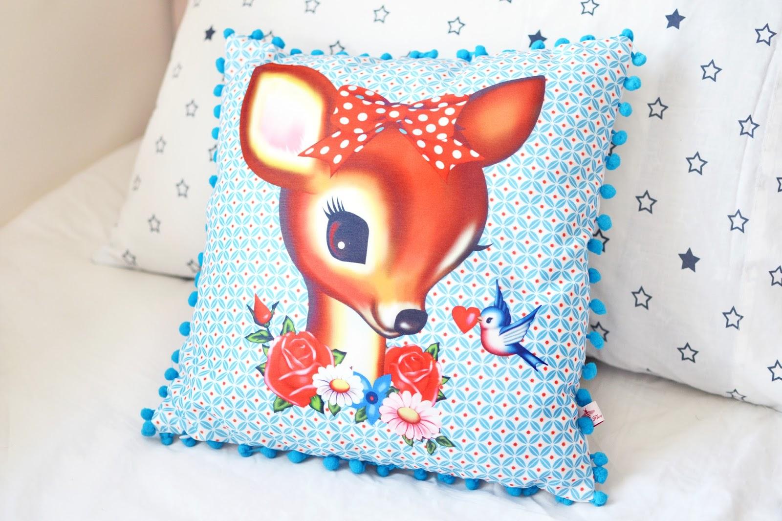 fawn cushion, cute cushion, cute homeware, quirky homeware