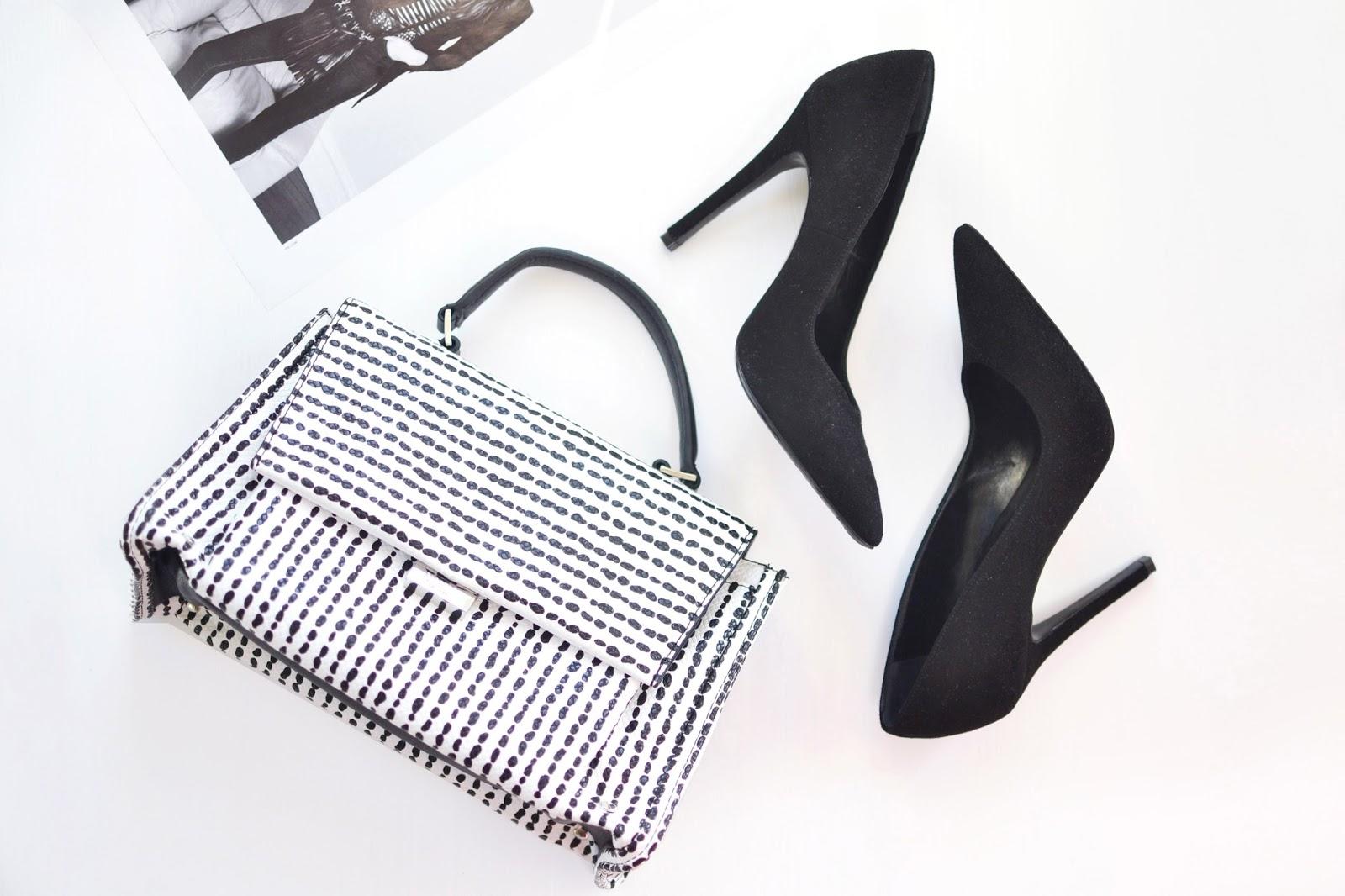 monochrome accessories, fiorelli bags, black court shoes