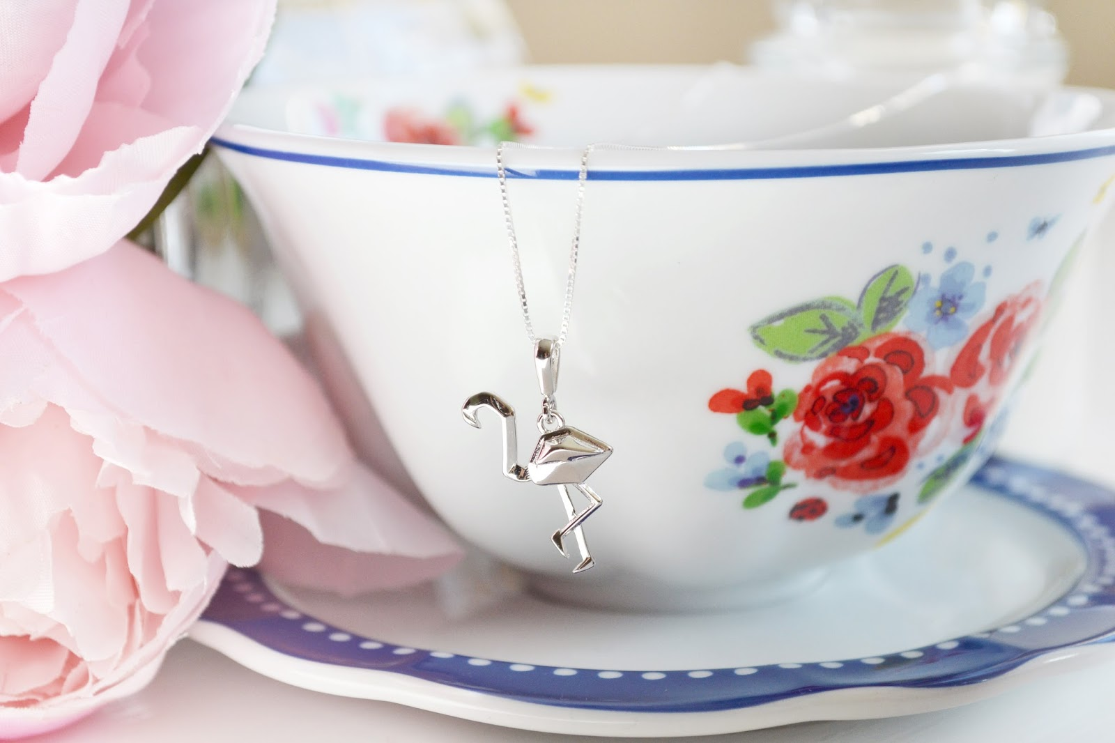 flamingo necklace, origami jewellery