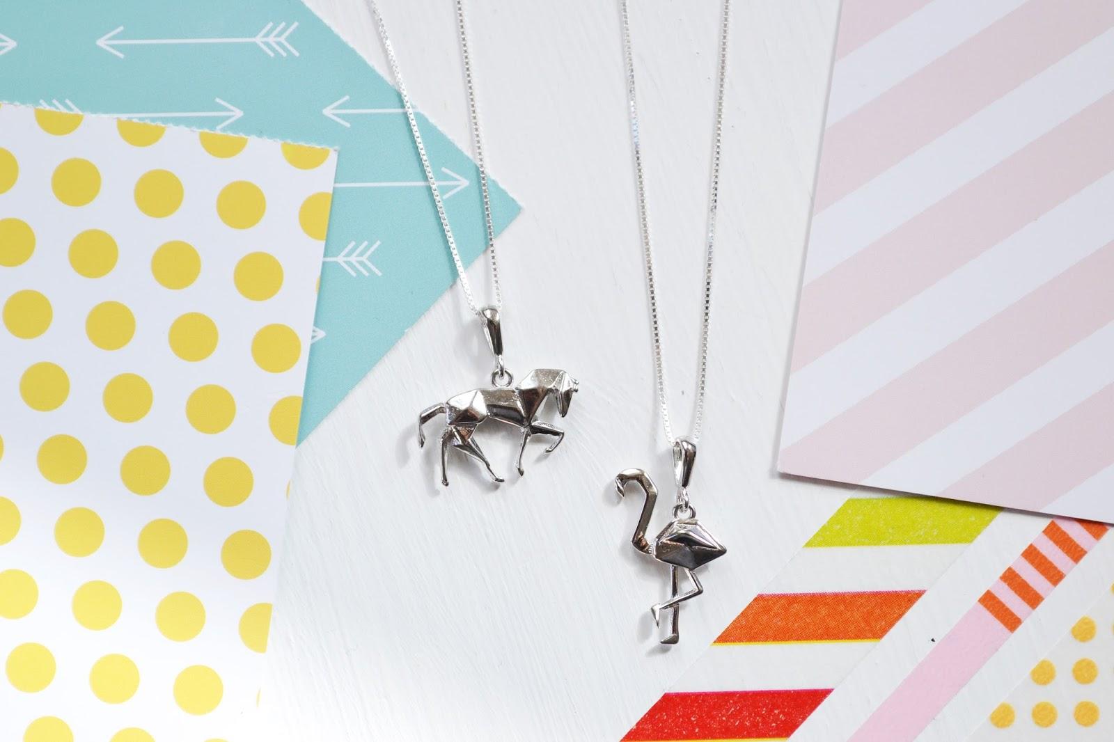 origami necklace, origami jewellery, horse charm, horse necklace, flamingo necklace