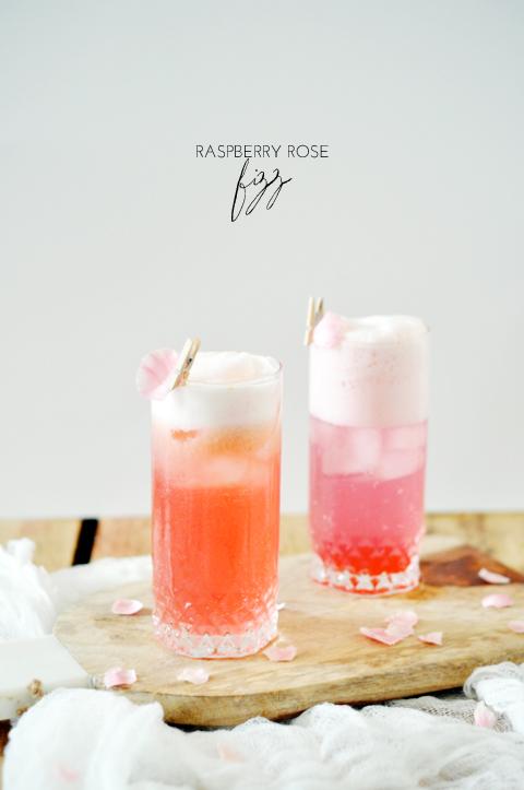summer cocktails, raspberry rose fizz, raspberry cocktail