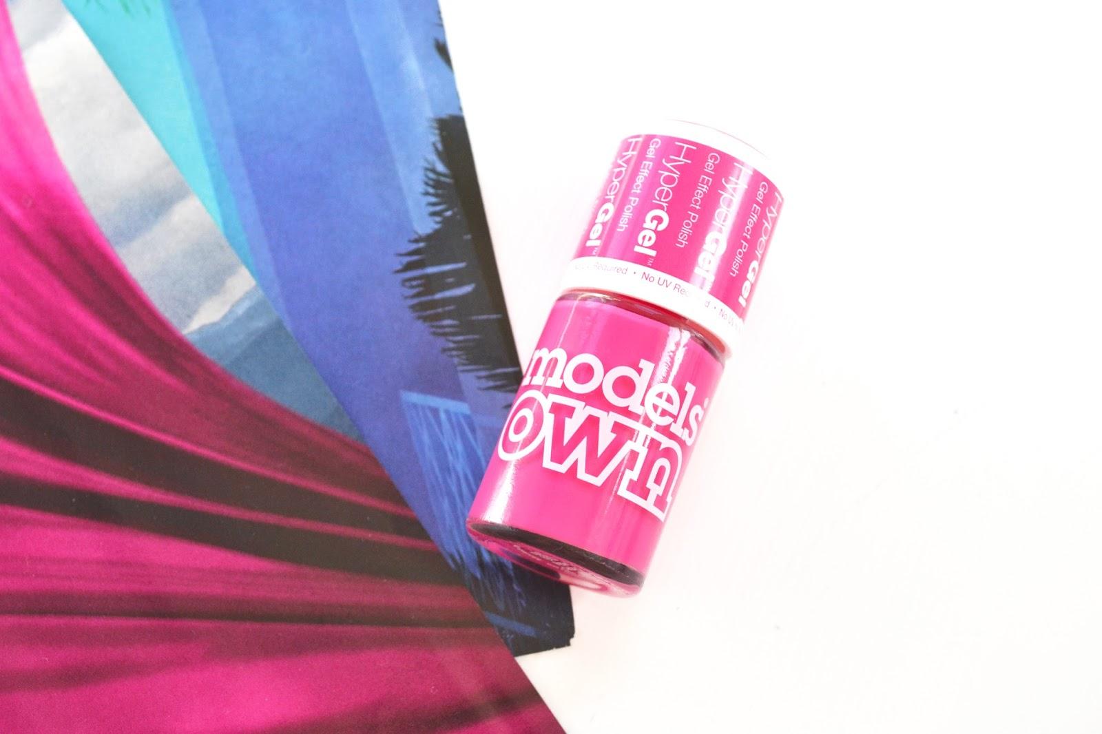models own hypergel, models own cerise shine, bright pink nail polish, pink gel nail polish