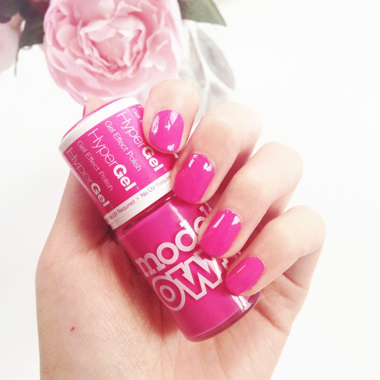 models own hypergel, models own cerise shine, bright pink nail polish, pink gel nail polish, pink nails