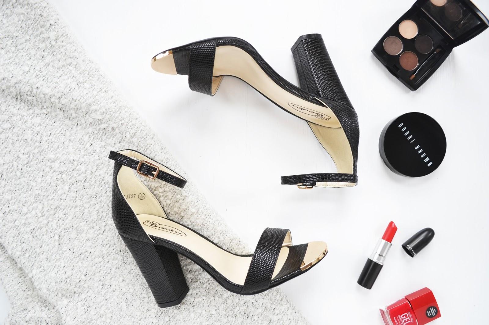 black high heels with a block heel