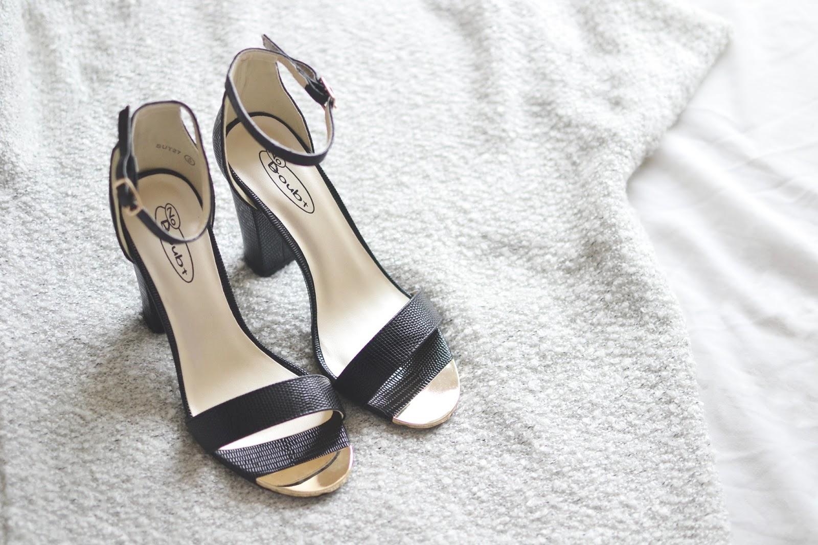 black heels with a block heel