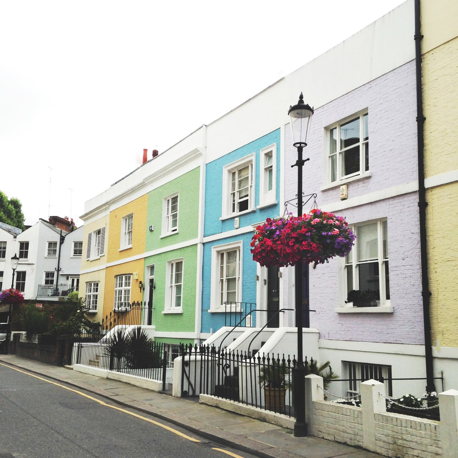 coloured houses at earls court in London