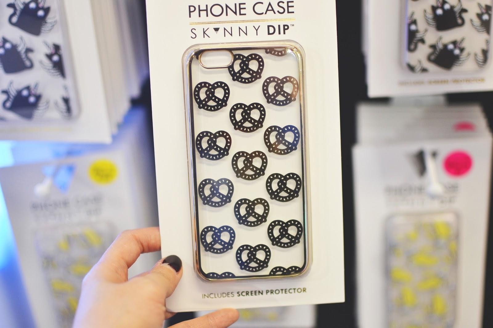 skinnydip phone cover, pretzel print