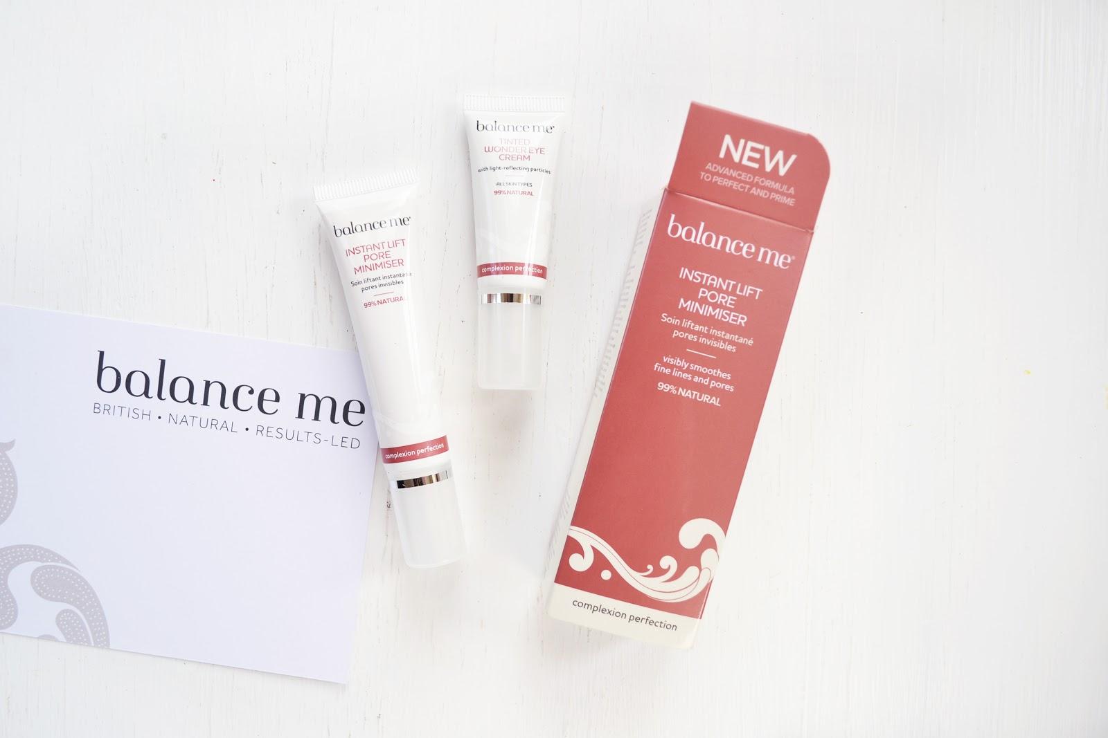 balance me skincare, balance me pore minimiser, balance me tinted wonder eye cream
