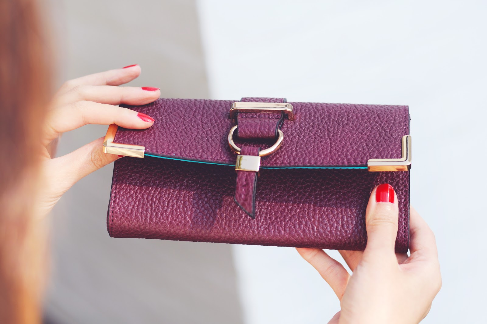 oxblood purple faux leather wallet, tabitha webb avon wallet