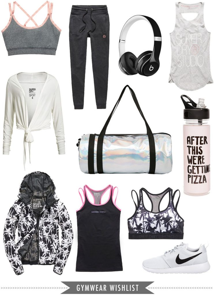 stylish gym wear, trendy sports clothes, superdry sports