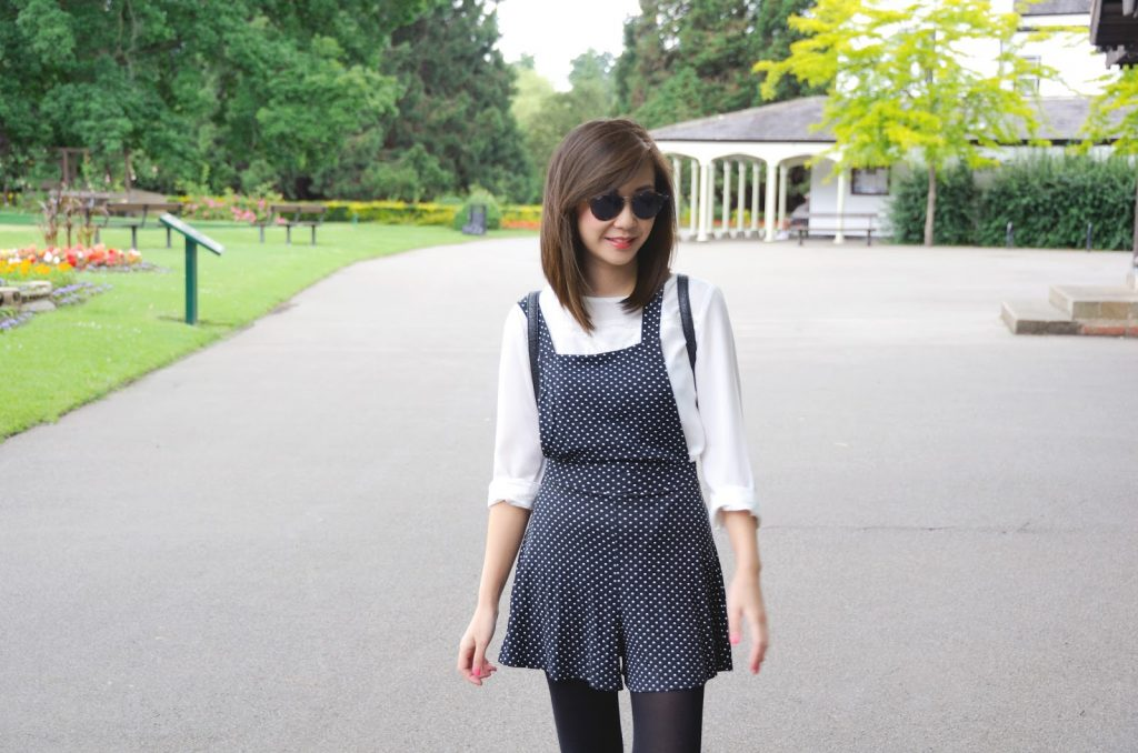 fashion blogger uk, Polkadot Playsuit